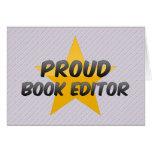 Redactor orgulloso del libro tarjetas