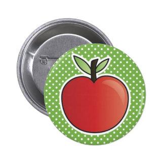 RedAppleOnGreen Pinback Button