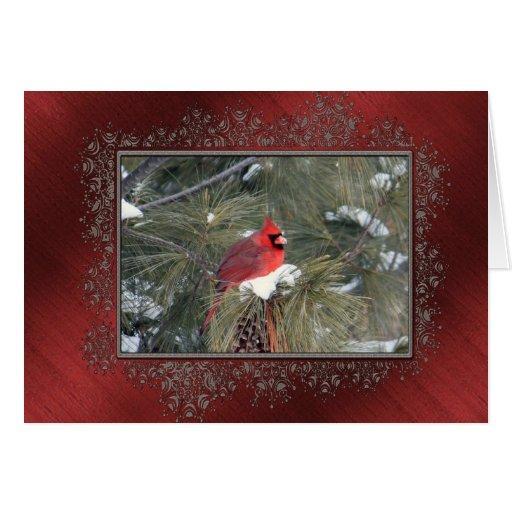 Redbird en la nieve felicitaciones
