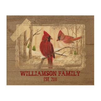 Redbird Family Name / Year Est. Wood Wall Art