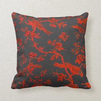 RedBirds en la almohada de tiro de lino negra de