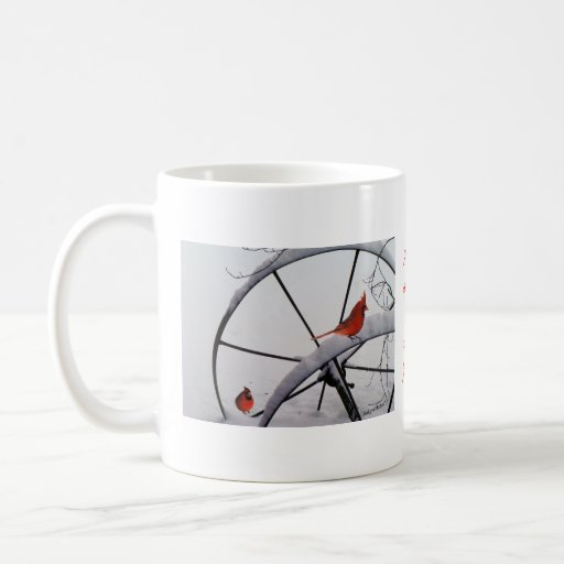 Redbirds on snowy wheels-customize coffee mug