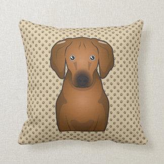Redbone Coonhound Cartoon Pillows