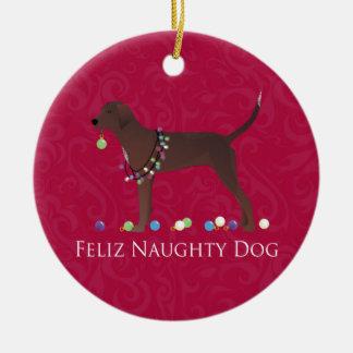 Redbone Coonhound Christmas Ceramic Ornament