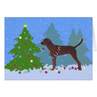 Redbone Coonhound Decorating Christmas Tree Card
