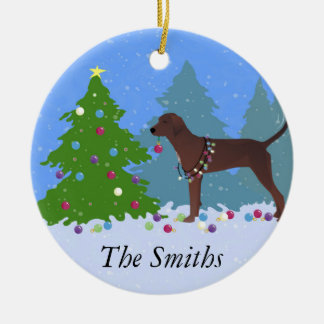 Redbone Coonhound Decorating Christmas Tree Ceramic Ornament