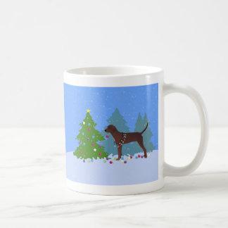 Redbone Coonhound Decorating Christmas Tree Coffee Mug