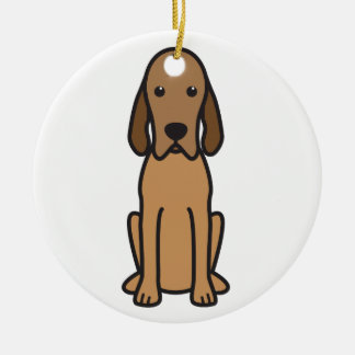 Redbone Coonhound Dog Cartoon Double-Sided Ceramic Round Christmas Ornament
