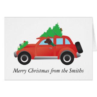 Redbone Coonhound Dog Driving a Christmas Car Card
