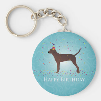 Redbone Coonhound Happy Birthday Design Keychain