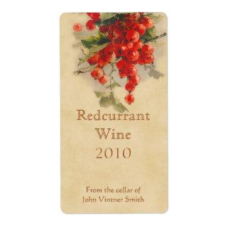 Redcurrant wine bottle label