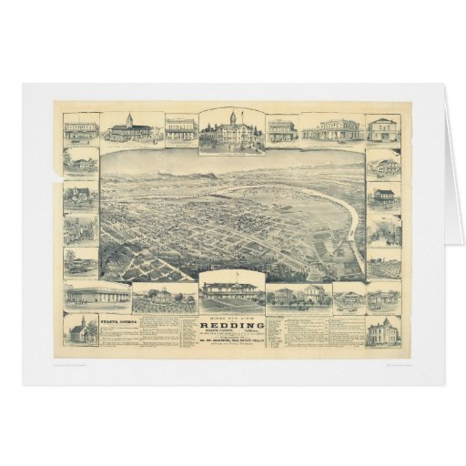 Redding, CA. Panoramic Map (1393A) Greeting Cards