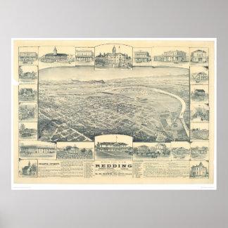 Redding, mapa panorámico del CA (1393A) Posters