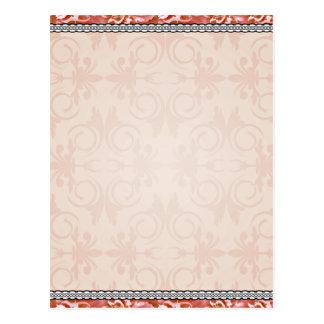 Reddish blossom and swirls pattern postcard