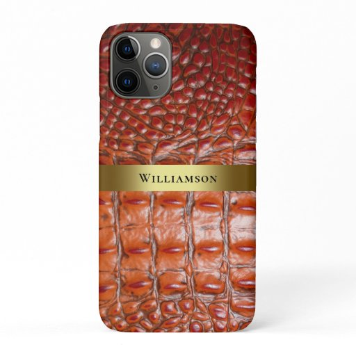 Reddish Brown Reptile Digital Leather Gold Metal iPhone 11 Pro Case