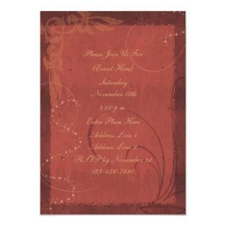 """Reddish Brown Swirl Design Invitation 5"""" X 7"""" Invitation Card"""