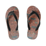[ Thumbnail: Reddish/Brownish Brick Wall, With Some Dark Bricks Flip Flops ]