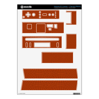 Reddish colored wood pattern decal for wii