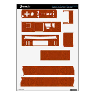 Reddish colored wood warp pattern decals for the wii