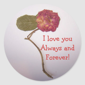reddish flower- love youAlways and Forever! Classic Round Sticker