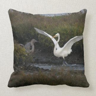 Reddish & Great Egret Heron Bird Wildlife Animals Pillow