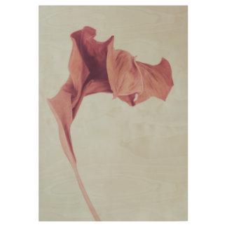 Reddish Vintage Leaf Print on Wooden Board
