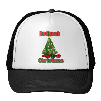 Redeck christmas tree with beer ornaments trucker hat