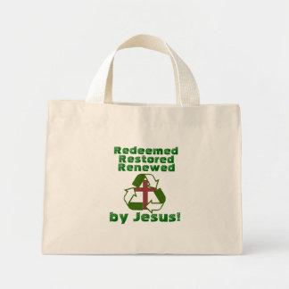 Redeemed, renewed, restored by Jesus tote bag