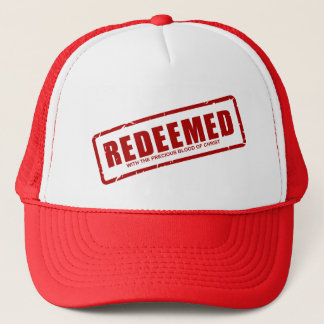Redeemed With The Precious Blood of Christ Trucker Hat