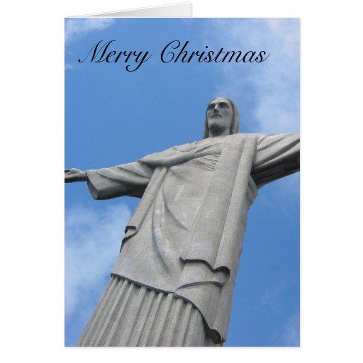 redeemer  christmas statue card