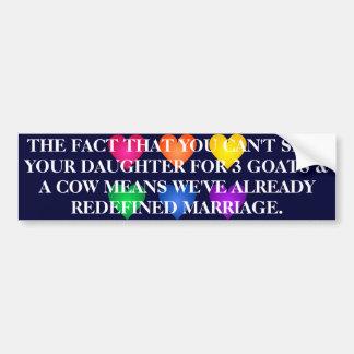 REDEFINE MARRIAGE BUMPER STICKER