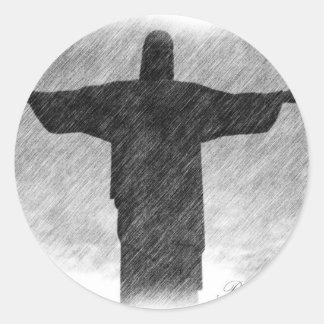 Redentor 1 de Cristo Pegatina Redonda