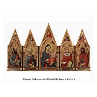 Redentor y santos de la bendición de Simone Martin Postal