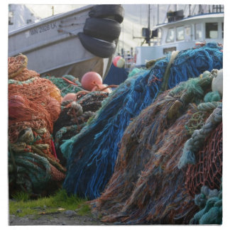 Redes y barcos holandeses de pesca del puerto servilleta de papel