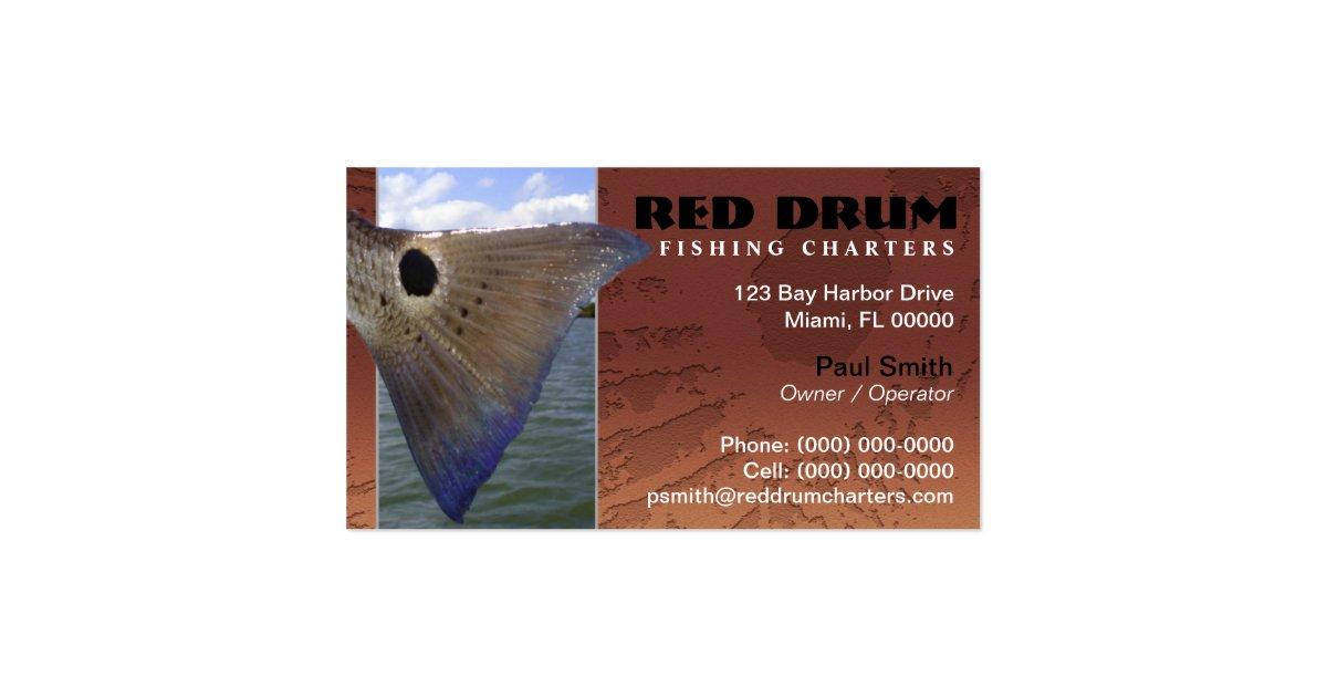 Redfish fishing charters business card zazzle for Fishing charter business cards
