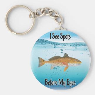 redfish basic round button keychain