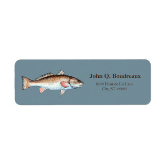 Redfish On Blue Gray Label
