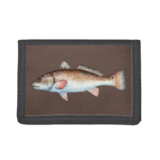 Redfish on Brown Tri-fold Wallet