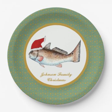 Christmas Themed Redfish Santa Christmas Paper Plate