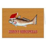 Redfish Santa Hat Christmas Card