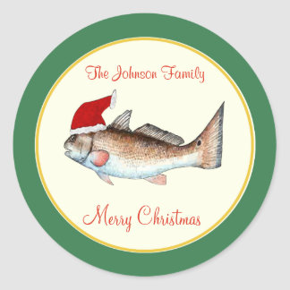 Redfish Santa Hat Christmas Green Classic Round Sticker