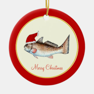 Redfish Santa Hat Christmas Red Ceramic Ornament