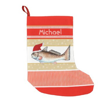 Christmas Themed Redfish Santa Small Christmas Stocking