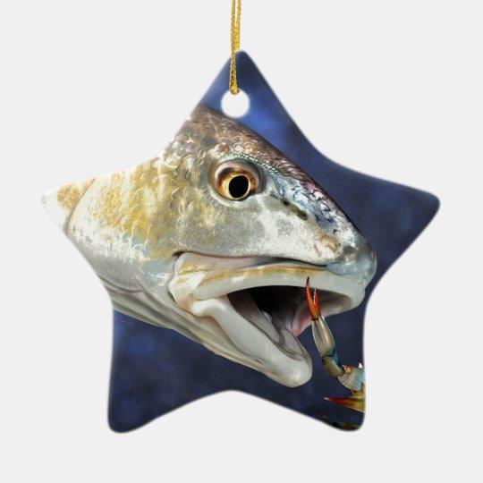 Redfish Strike Ceramic Ornament