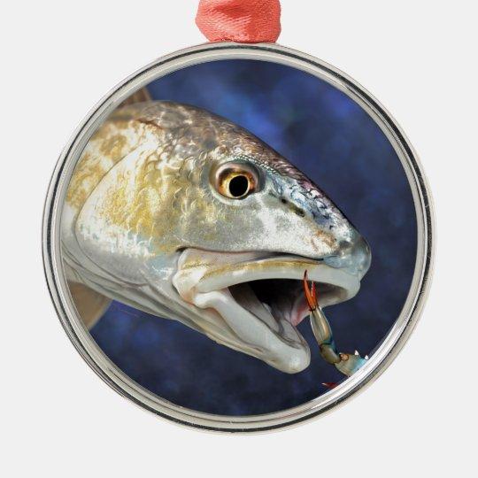 Redfish Strike Metal Ornament