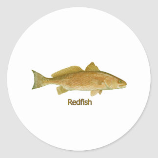 Redfish (titled) round stickers