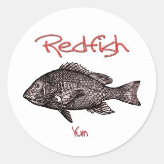 Redfish Yum Round Sticker