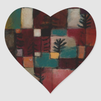 Redgreen and Violet-yellow Rhythms by Paul Klee Heart Sticker