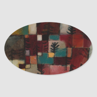 Redgreen and Violet-yellow Rhythms by Paul Klee Oval Sticker