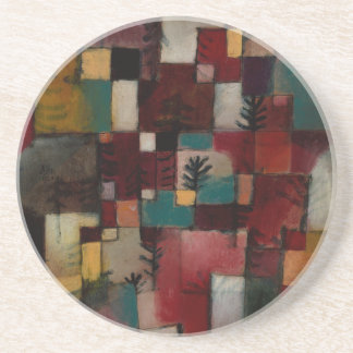 Redgreen and Violet-yellow Rhythms by Paul Klee Sandstone Coaster